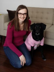 Stephanie and her dog Maeby are wearing pink in support of the Red Cross Day of Pink